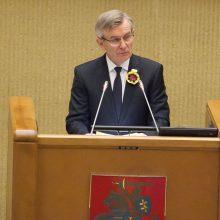 Seimo pirmininkas: atsakomybė už laisvą šalį priklauso kiekvienam