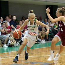 16-metės Lietuvos krepšininkės pralaimėjo latvėms