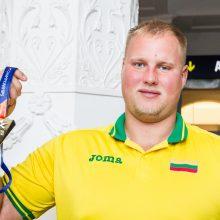Į Lietuvą grįžęs Europos čempionas A. Gudžius: tikėjausi medalio