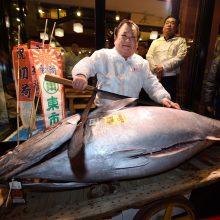 Japonijoje kaitros banga kelia pavojų garsiam Cukidžio tunų aukcionui