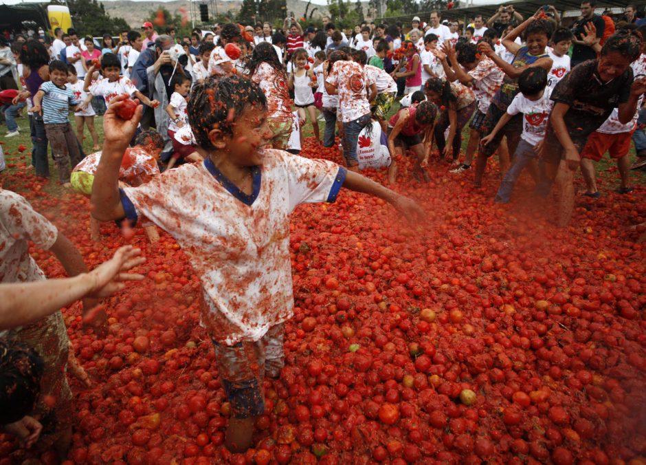 Ispanijos tradicinio pomidorų mūšio dalyviams teko susimokėti