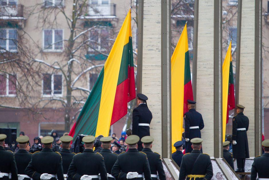 Valstybės vėliavos pakėlimo ceremonija Nepriklausomybės aikštėje