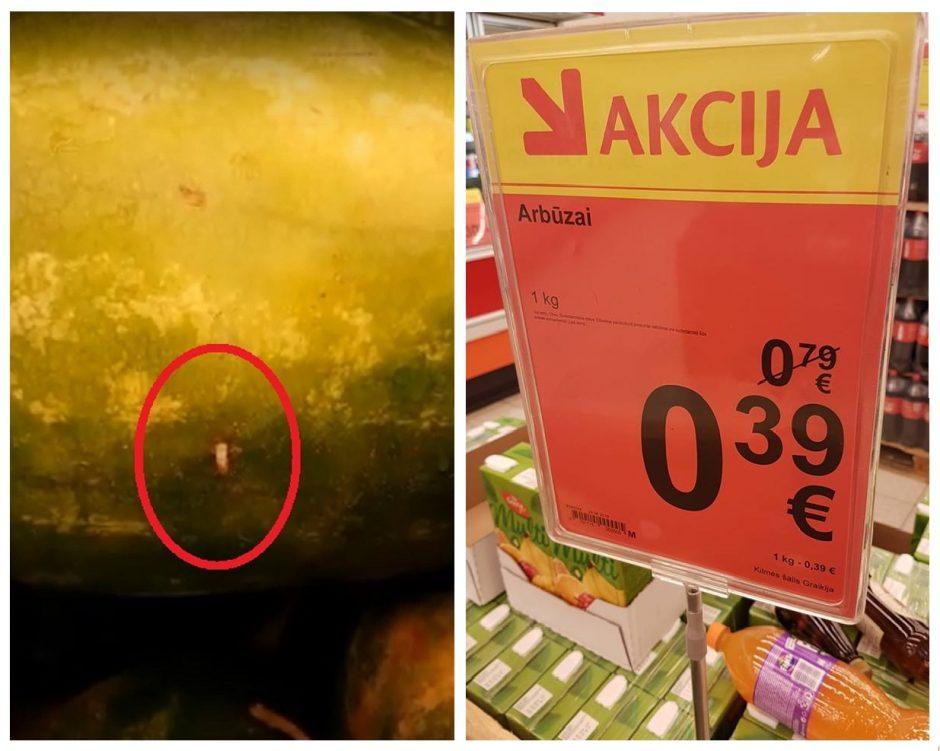"""Žiūrėkite, ką perkate: akcijiniame arbūze """"Maximoje"""" – kirmėlės"""