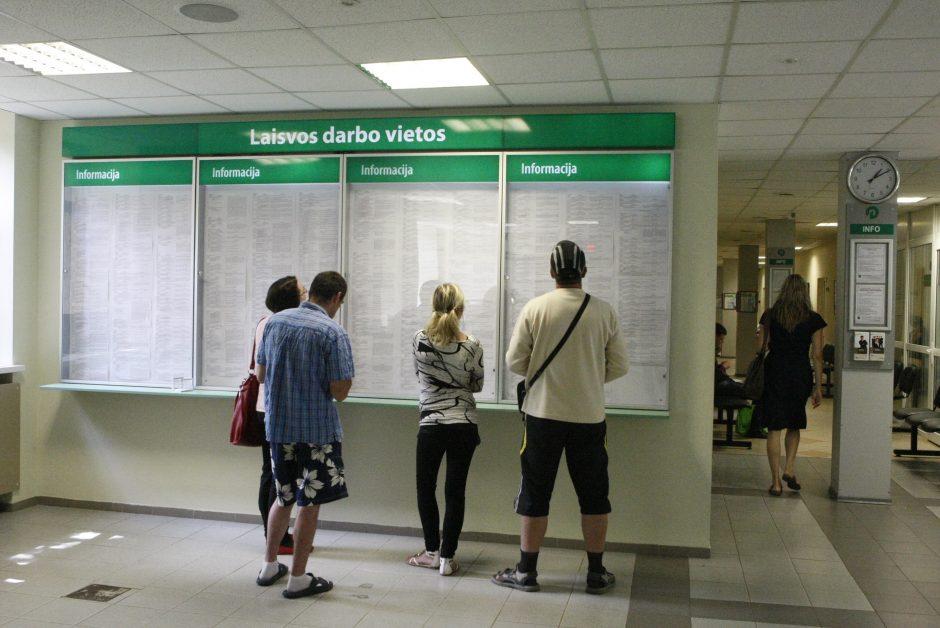 Per metus bedarbių skaičius sumažėjo 13 tūkst.