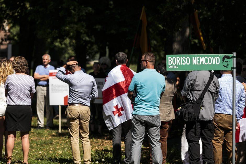 B. Nemcovo skvere paminėtos karo Gruzijoje metinės
