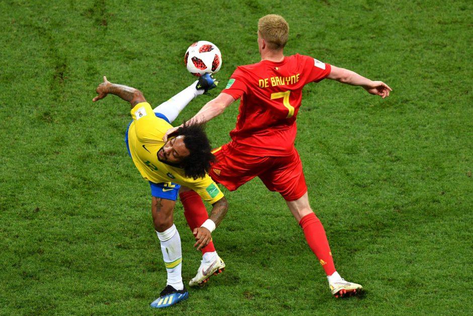 Belgijos futbolininkai įveikė brazilus ir pateko į čempionato pusfinalį
