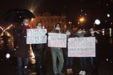 Naktį Vilniuje vyko protestas prieš politiką Baltarusijoje