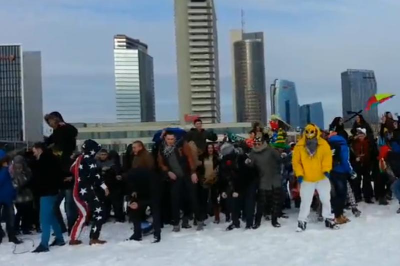 """Masinį """"Harlem Shake"""" šokį Vilniuje šoko su trispalvėmis ir pusnuogiai"""