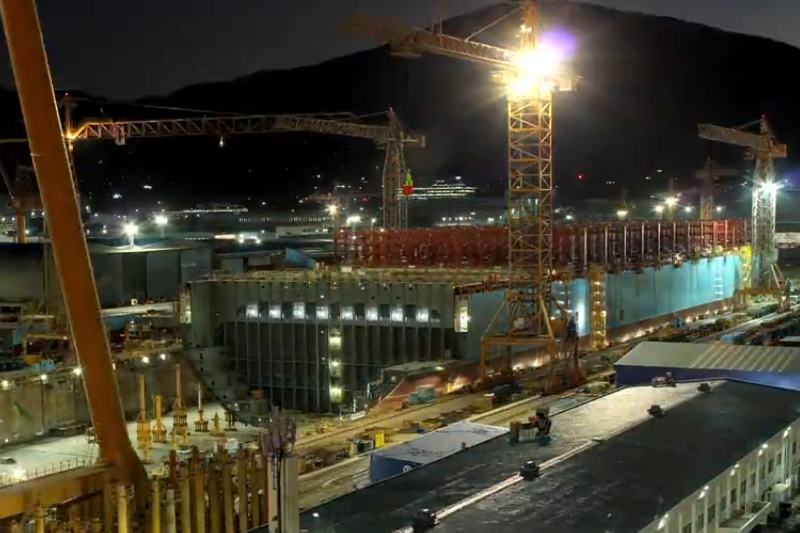 Didžiausio konteinerinio laivo statybos – per 76 sekundes