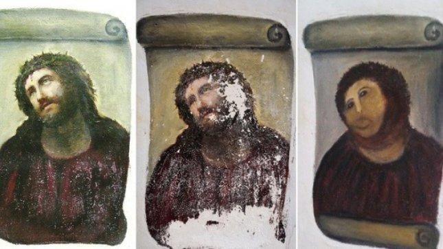Moteris nusprendė restauruoti XIX amžiaus freską ir ją sunaikino