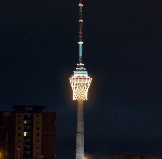 TV bokštas - didžiausias krepšinio krepšys