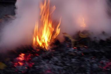 Skuodo rajone degė ūkinis pastatas