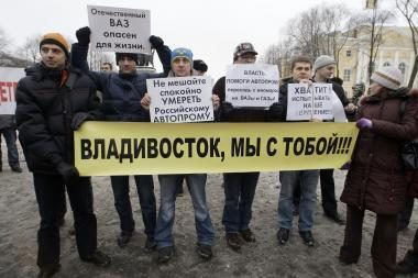 Rusijos automobilininkai sukilo prieš vyriausybę