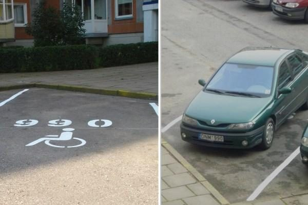 Neįgalieji dėl vietos mašinai kovoja ir neteisėtais būdais