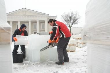 Rotušės aikštėje – ledinis Vilnius