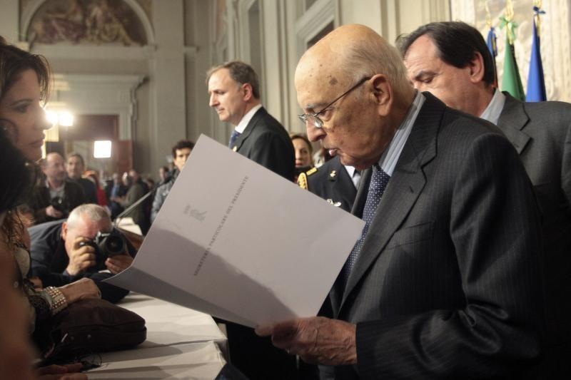 Perrinktas prezidentas G. Napolitano: Italijos situacija yra sunki