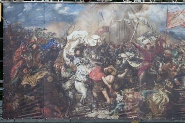 """Į Kauną atkeliaus J.Mateikos paveikslo """"Žalgirio mūšis"""" reprodukcija"""
