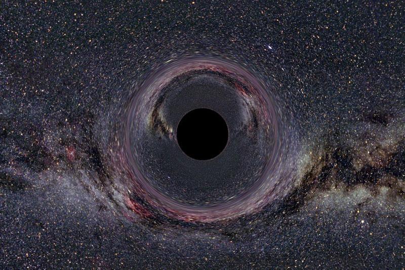 Alkanos juodosios skylės medžiagą siurbia keliais frontais?