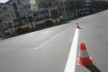 Įpusėjo Kauno miesto gatvių ženklinimo darbai