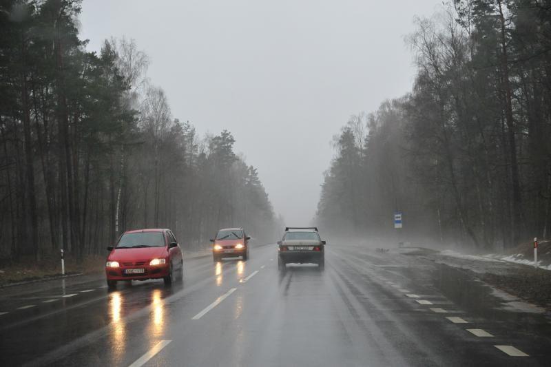 Lietuvoje lyja, kyla rūkas ir kelius dengia plikledis