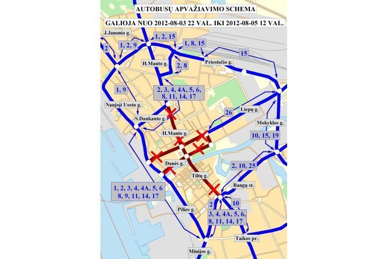 Klaipėdos senamiestyje prasideda eismo apribojimai (schemos)