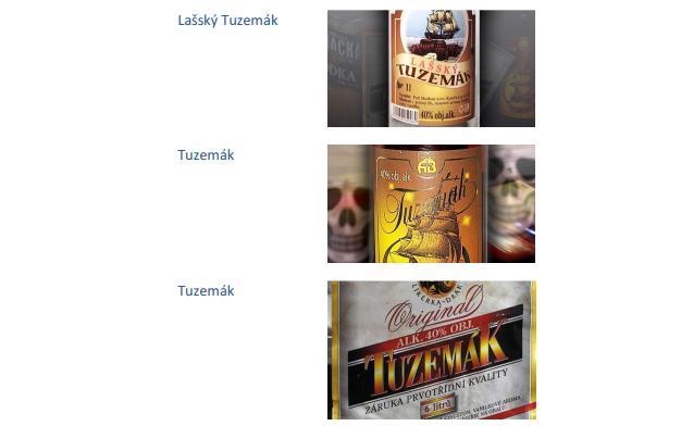 Skelbiamos pavojingų čekiškų alkoholinių gėrimų etiketės