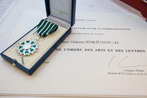 O.Koršunovas – Prancūzijos Meno ir literatūros ordino kavalierius