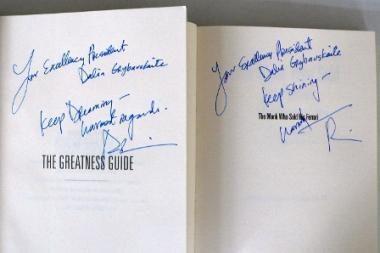 Robinas Sharma Daliai Grybauskaitei linki svajoti ir švytėti