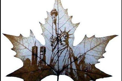 Kinai kuria paveikslus ant klevo lapų