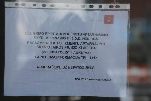 Per gripo epidemiją – spyna ant Klaipėdos įstaigos durų