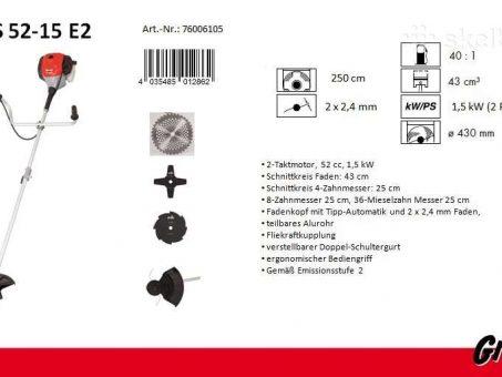 Skelbimas - Benzininė krūmapjovė 1.5kW Grizzly MTS 52-15 E2