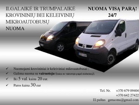 Skelbimas - Ilgalaikė ir trumpalaikė keleivinių ir krovininių mikroautobusų nuoma