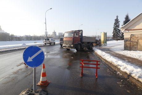 Vilniuje – vandentiekio avarija: patvino Upės gatvė