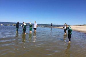 Į Palangą persikėlę žalgiriečiai neišsigando šalto Baltijos jūros vandens