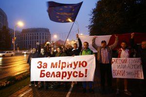 Minske įvyko protestas prieš bendras karines pratybas su Rusija