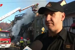 Lenkijoje sprogimas apgriovė daugiabutį: nunešė stogą ir nuvertė sieną