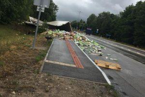 Vilkikas įlėkė į griovį: pabiręs krovinys atėmė aplinkiniams žadą
