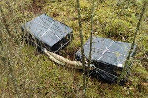 Sprukdami nuo pasieniečių kontrabandininkai rūkalus išmetė miške