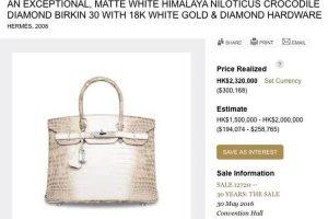 """Už deimantais inkrustuotą """"Hermes"""" rankinę paklojo net 380 tūkst. JAV dolerių"""