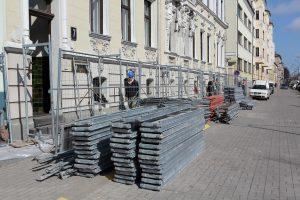 Tęsiamas savivaldybės fasado remontas
