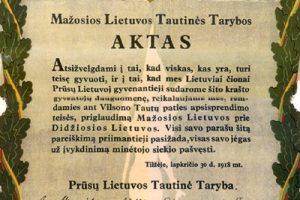 Tilžės aktui – 100 metų