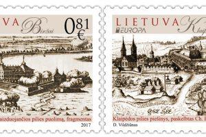 Europos šalis vienys pilys pašto ženkluose