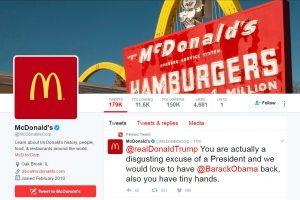 """Po D. Trumpui skirtos žinutės įsilaužta į """"McDonald's"""" paskyrą"""