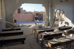 Rusija vėl paneigė pranešimus apie vaikų žūtį Sirijos mokykloje