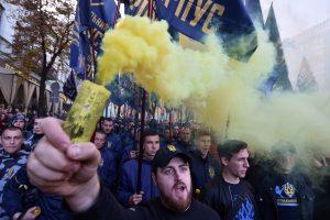 """Kijeve vyko nacionalistų eitynės """"Sugrąžinkime Ukrainą ukrainiečiams"""""""