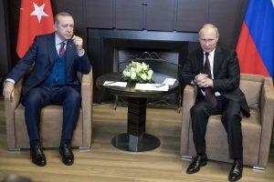 Rusijoje susitikę V. Putinas ir R. T. Erdoganas aptaria situaciją Sirijoje