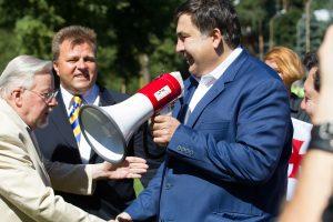 Pikete Vilniuje dėl Gruzijos žemių okupacijos pasirodė ir M. Saakašvilis