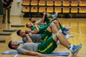 Lietuvos krepšinio rinktinė Palangoje surengė pirmąją treniruotę