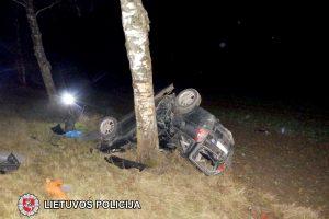 Vilkaviškio rajone automobilis trenkėsi į medį, žuvo vairuotojas