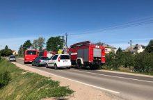 """Aleksote – sunkvežimio """"skrydis"""" į medį, nukentėjo vairuotojas"""